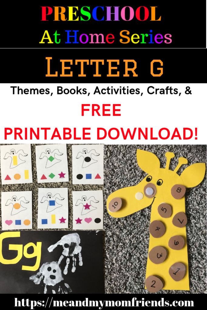 preschool, activities, alphabet, homeschool, letters letter G, giraffe, giraffes, ghost, ghosts, books, crafts, resources, learning, teaching